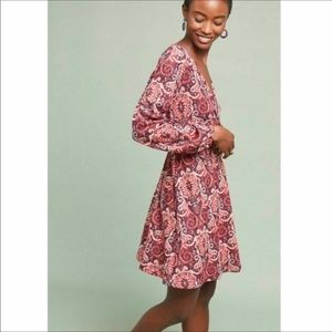 Anthropologie Maeve Paisley Belted Wrap Dress